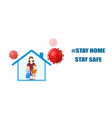 people inside house and viruses around vector image vector image