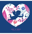 pink flowers shooting cupid silhouette frame vector image vector image