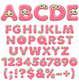 pink jelly alphabet letters numbers with eyes vector image vector image