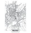 poster detailed city map belfast vector image
