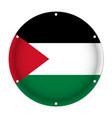 round metallic flag of palestine with screw holes vector image