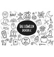 set of halloween doodle isolated on white vector image