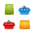 Shopping baskets and bags vector image vector image