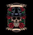 skull in mafia hat vector image