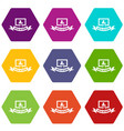 social network icons set 9 vector image vector image