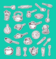 stickers set with hand drawn kitchen vector image