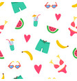 summer beach pattern with swimsuits watermelon vector image