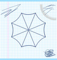 sun protective umbrella fo beach line sketch icon vector image