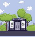 tattoo studio building in summer landscape vector image