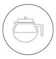 teapot the black color icon in circle or round vector image vector image