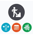 Upstairs icon Human walking on ladder sign vector image vector image
