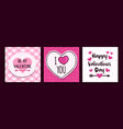 valentines day pink love cartoon quote card set vector image