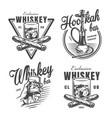 vintage monochrome whiskey bar emblems vector image