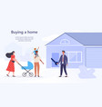 young family buying a home from an agent vector image