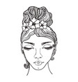 beautiful woman with flowers in her hair vector image