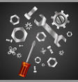 wrench and screwdriver with nuts and bolts vector image
