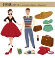 1950 fashion style man and woman personal objects vector image vector image