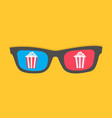 3d glasses icon popcorn box cinema movie night vector image vector image