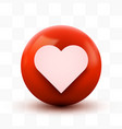 3d heart ball sign emoticon icon design for social vector image
