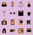 Adult lifestyle black and orange color icons vector image vector image