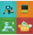 Airport flat set vector image vector image