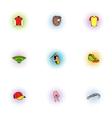 Baseball icons set pop-art style vector image vector image