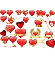 big set of red heart vector image vector image