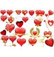big set red heart vector image vector image