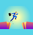 businessman jumps over ravine vector image vector image