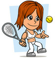 cartoon girl character with tennis racket and ball vector image vector image