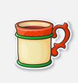 cartoon sticker christmas mug with mulled wine vector image