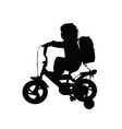 child silhouette with bike and bag in black color vector image vector image