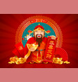 chinese god wealth with golden ingot and vector image