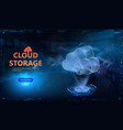 cloud technology hud style futuristic 3d vector image