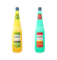 colored flat yellow and blue couple liquor bottles vector image vector image