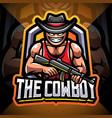 cowboy gunner esport mascot logo design vector image