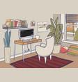 cozy home office cute vector image