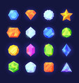 crystals game color set mobile interface shiny vector image