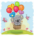 cute cartoon koala with balloons vector image vector image