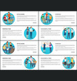eight office work strategy working team cards vector image vector image
