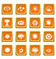 explosion icons set orange vector image vector image