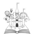 fairy-tale castle on book coloring image vector image