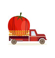 farming harvest concept with big ripe tomato in vector image vector image