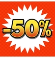 Fifty percent discount halftone vector image