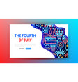 fourth july neon landing page vector image vector image
