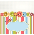 Frame with sewing buttons and bird vector image vector image