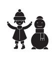 girl with a snowman black concept icon vector image