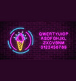 glowing neon ice cream cone signboard in circle vector image vector image