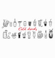 hand drawn set cold drinks summer vector image