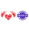 handmade collage of handmade love and grunge stamp vector image vector image
